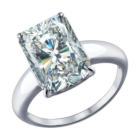 94012078- Кольцо  из серебра с крупным фианитом