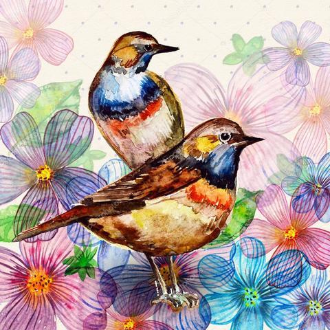 Алмазная Мозаика 30x40 Акварельные птицы