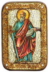 Инкрустированная Икона Первоверховный апостол Павел 15х10см на натуральном дереве, в подарочной коробке