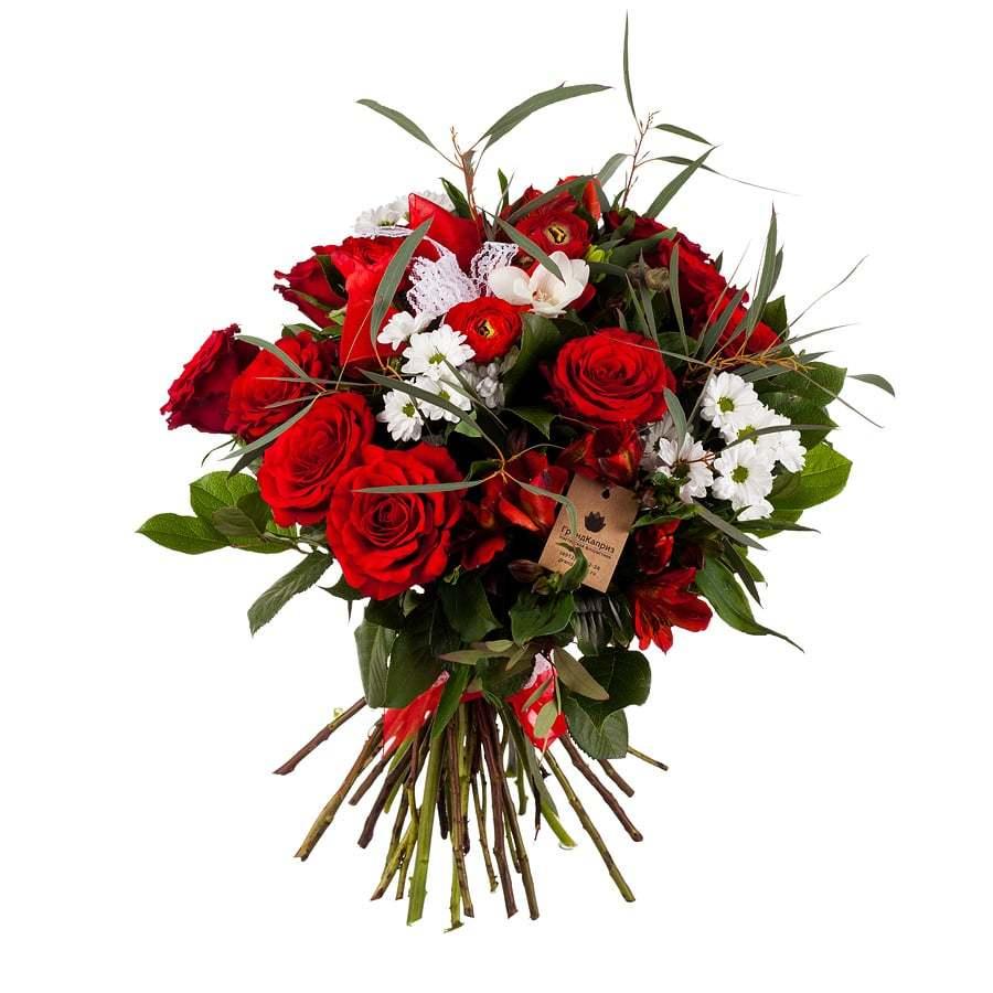 Букет из роз и ранункулюсов - Полет страсти