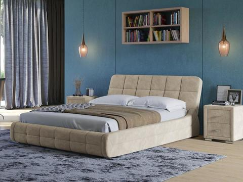 Кровать двуспальная Corso 6 ткань велюр Даблиск Ваниль