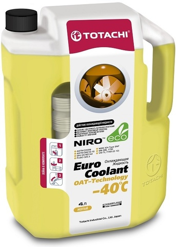 NIRO™ EURO COOLANT OAT TECHNOLOGY -40°C TOTACHI Антифриз желтый (4 Литра)