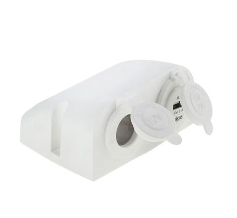 Разъем USB 5 В, 2.1 А и прикуриватель для крепления на приборную панель, белый