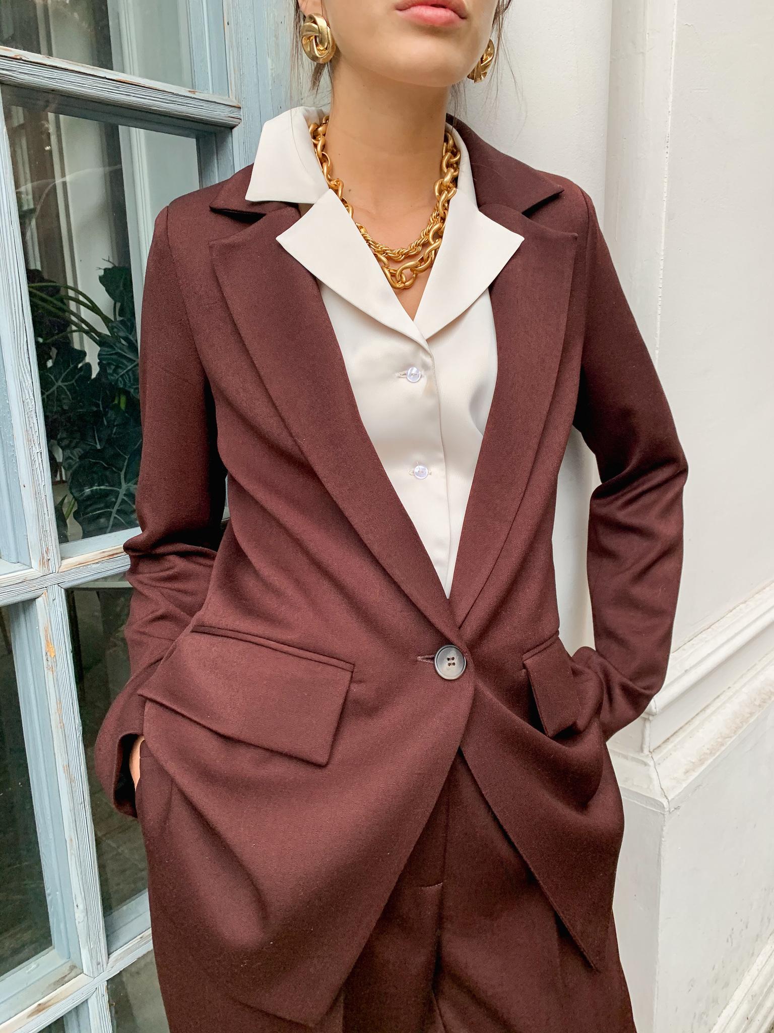 Пиджак прямой мужского кроя (темно-коричневый)