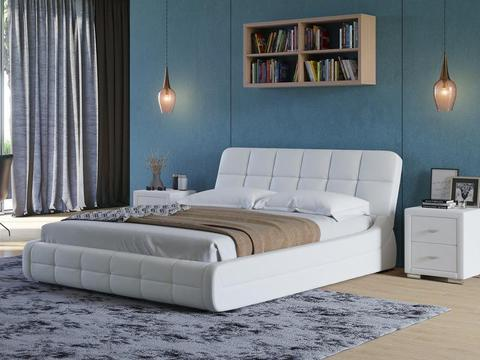 Кровать двуспальная Corso 6 Экокожа белый