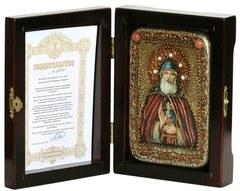 Инкрустированная Икона Преподобный Илия Муромец, Печерский 15х10см на натуральном дереве, в подарочной коробке