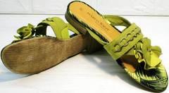 Красивые шлепанцы женские босоножки на низком ходу Marco Tozzi 2-27104-20 Green.