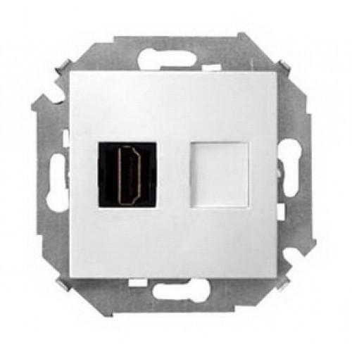 Розетка Simon 15 для подключения HDMI-разъёма аудио/видео, v1.4, тип А - белый - 1591407-030