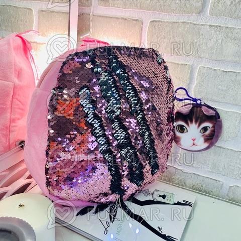 Рюкзачок Детский плюшевый розовый с пайетками меняет цвет Розовый-Серебристый и брелок-ключница Пёся