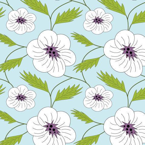 Белые цветы с листьям на голубом фоне