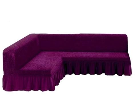Чехол на угловой диван без подлокотников, фиолетовый