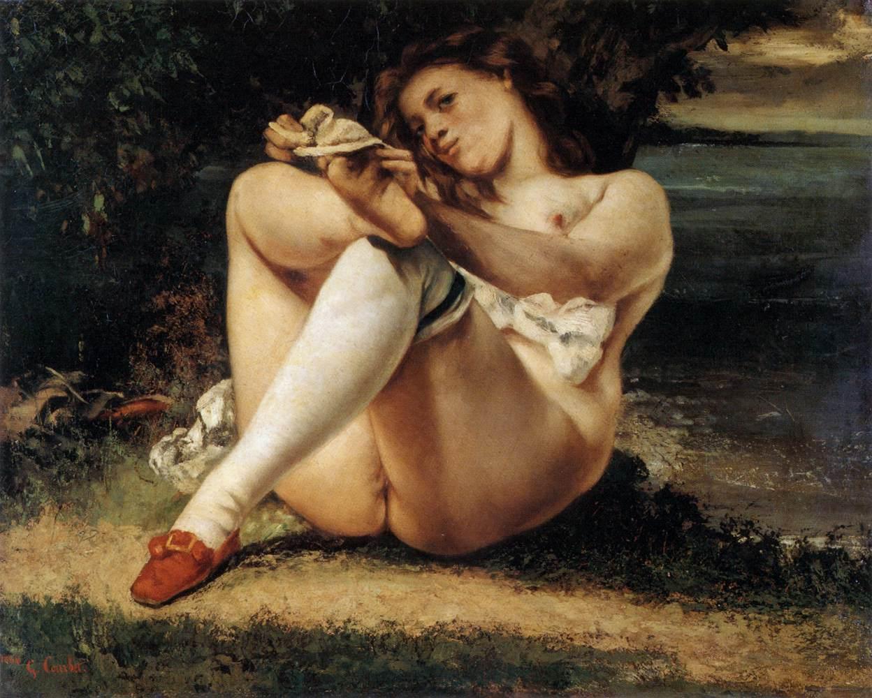 Гюстав Курбе. 1861. Женщина с белыми чулками (La Femme aux bas blancs (Woman with White Stockings)). 65 х 81. Холст, масло. Филадельфия, Фонд Барнса.