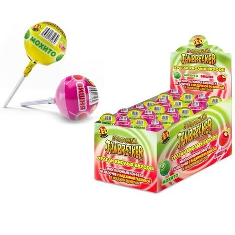 ЗУБОДРОБИЛКА Ураган кислых вкусов многослойная конфета на палочке с надувной резинкой и жидким центром, 1кор*12бл*30 шт, 33г