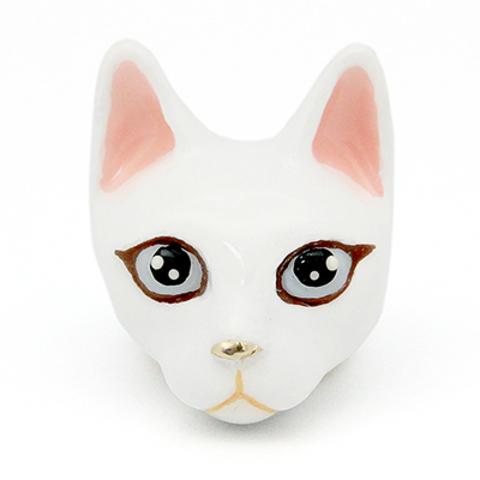 Кольцо Кошка (белая)