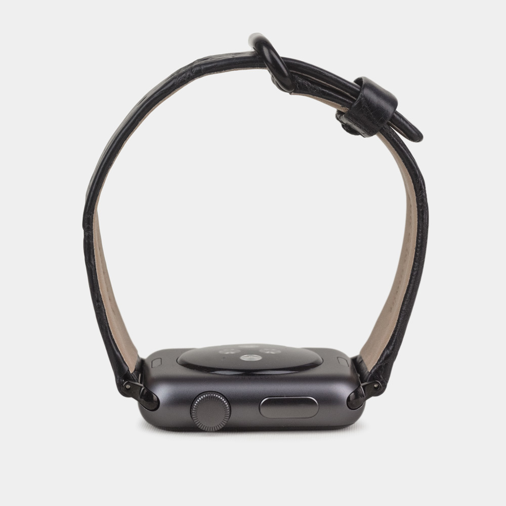 Ремешок из аллигатора Niloticus черного цвета для черных Apple watch