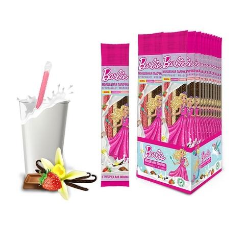 BARBIE трубочки для молока 5шт. (ваниль, клубника, шоколад), 1кор*6бл*24 шт. 30гр