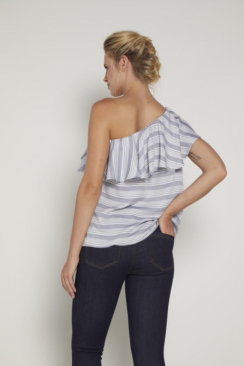 Блузка для беременных 09347 серый/белая полоска