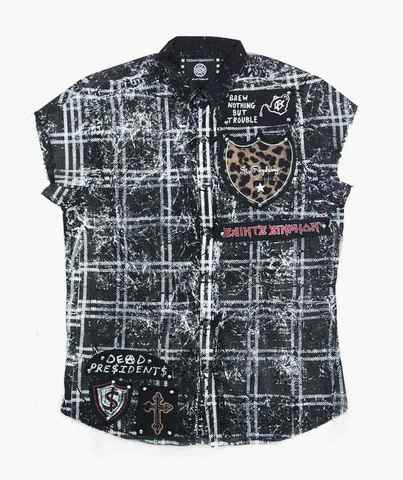 Рубашка без рукавов The Saints Sinphony SLEEVELESS BUTTON UP PUNK BLK