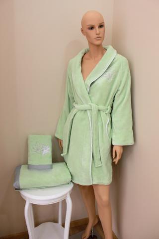 НАБОР 3 предмета LILIUM  Зеленый махровый женский халат, полотенце и тапочки Soft Cotton (Турция)