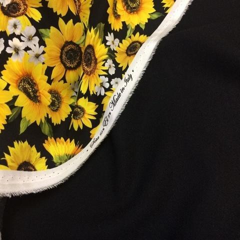 Ткань шерсть креп черный цвет 3086