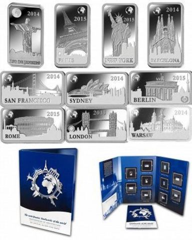 Набор из 10 монет 1/2 доллара. Знаменитые мировые достопримечательности. Соломоновы острова. 2014-2015 гг. PROOF