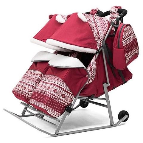 Санки коляска для двойни TWIN красный