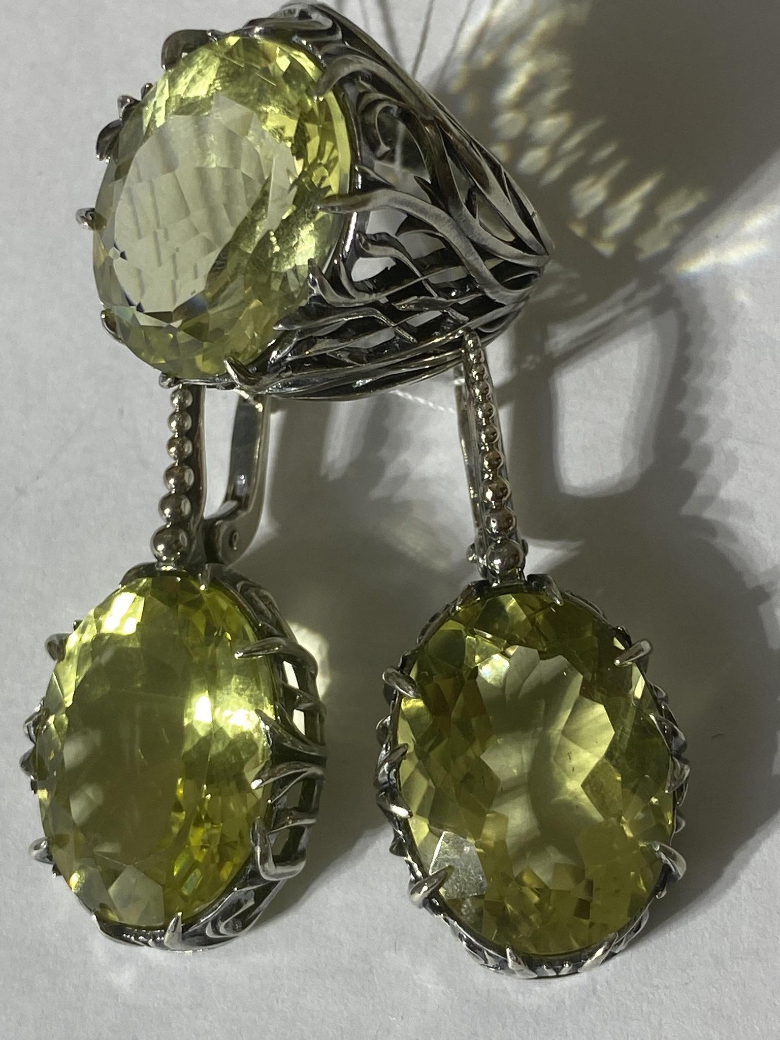 Арвика-цитрин (кольцо + серьги из серебра)