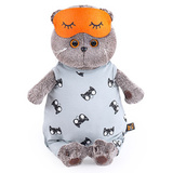 Кот Басик в сером комбинезоне и маске для сна