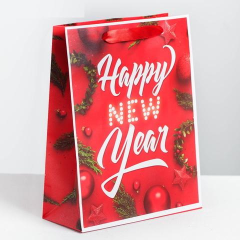 Красный Пакет ламинированный вертикальный Happy New Year 18 x 23 × 8 см