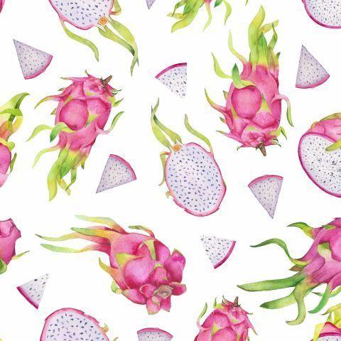 Акварельные драгонфруты на белом