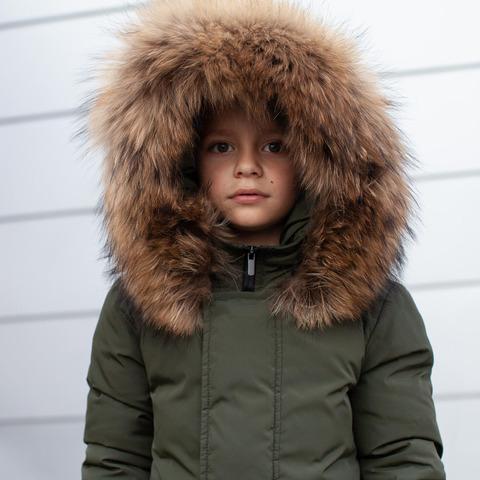 Зимняя детская парка хаки с опушкой из натурального финского енота
