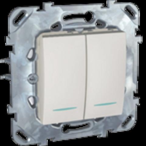 Выключатель двухклавишный с подсветкой проходной. Цвет Белый. Schneider electric Unica. MGU5.0303.18NZD