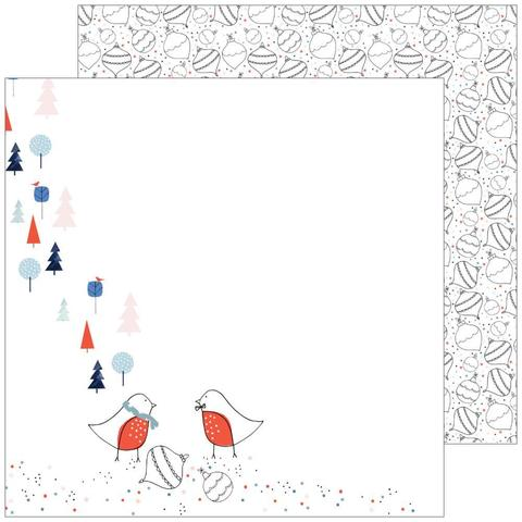 Лист двусторонней бумаги December Days от Pinkfresh Studio 30х30см- Ornaments