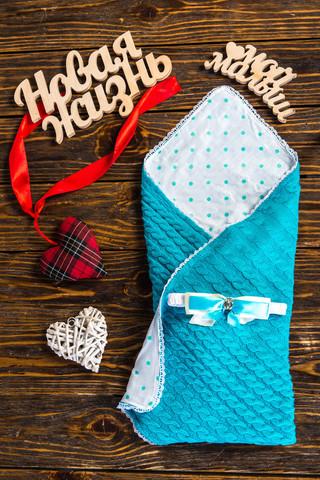 Конверт одеяло на выписку новорожденных из роддома вязка (Мятный)