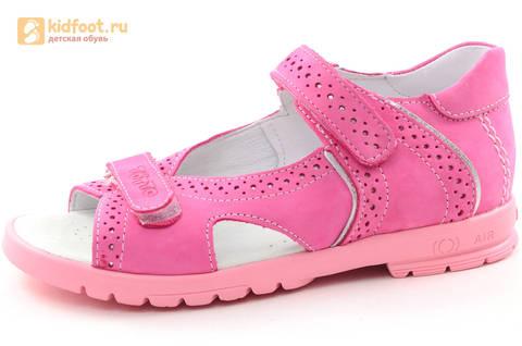 Босоножки для девочек из натуральной кожи с открытым носом на липучках Тотто, цвет розовый. Изображение 1 из 14.