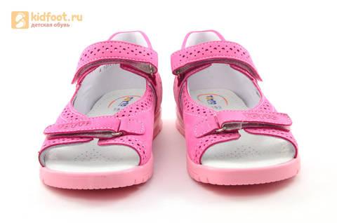 Босоножки для девочек из натуральной кожи с открытым носом на липучках Тотто, цвет розовый. Изображение 5 из 14.