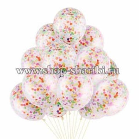 шары с цветным конфетти недорого