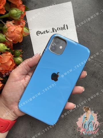 Чехол iPhone 11 Pro Max Glass Silicone Case Logo /blue/
