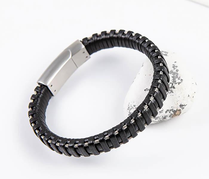 Фото - Spikes, Широкий кожаный браслет «Spikes» с проволокой мужской браслет из кожи со стальной проволокой 20 см