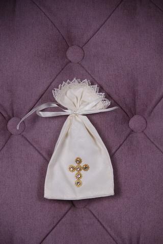 Мешочек для первых состриженых волос Крестик Золотой (айвори)