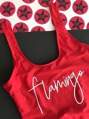Красный слитный купальник с надписью Flamingo