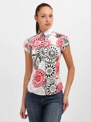 3434 блузка женская, бордово-черная