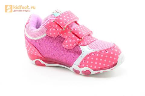 Светящиеся кроссовки для девочек Хелло Китти (Hello Kitty) на липучках, цвет розовый, мигает картинка сбоку. Изображение 2 из 15.