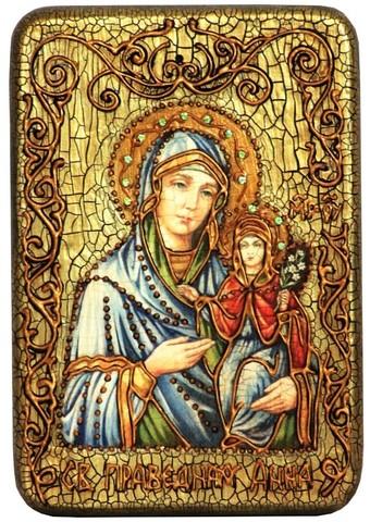 Инкрустированная Икона Святая праведная Анна, мать Пресвятой Богородицы 15х10см на натуральном дереве, в подарочной коробке