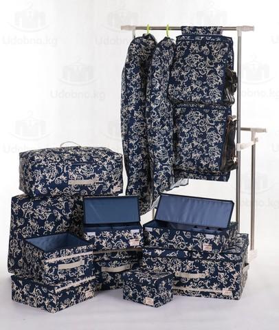Чехол для длинной одежды с прозрачной половиной, 60*120 см (темно-синий с узорами)