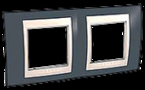 Рамка на 2 поста. Цвет Серо-зеленый/белый. Schneider electric Unica Хамелеон. MGU6.004.877
