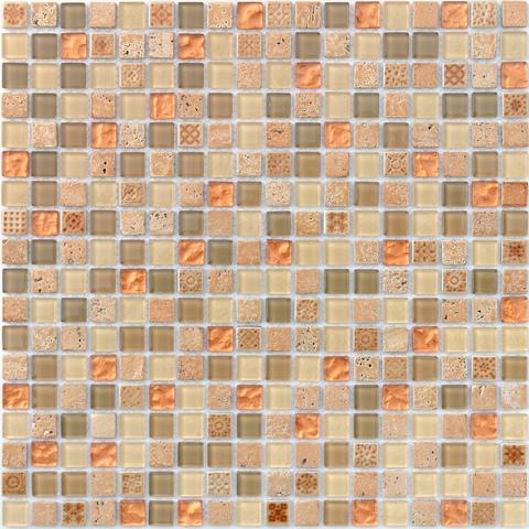 Мозаика стеклянная с камнем Cozumel 15x15x4 305х305