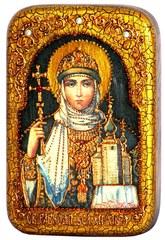 Инкрустированная Икона Святая Равноапостольная княгиня Ольга 15х10см на натуральном дереве, в подарочной коробке