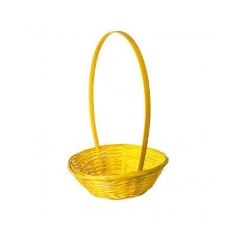 Корзина плетеная (бамбук), D19x5хH32см, желтый