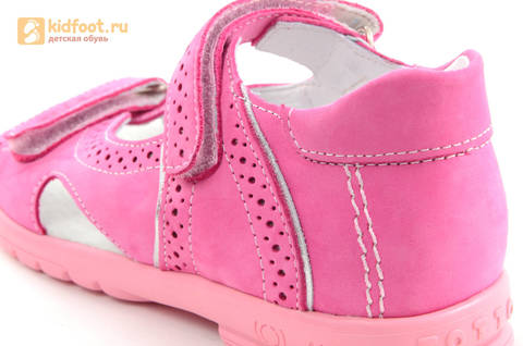 Босоножки для девочек из натуральной кожи с открытым носом на липучках Тотто, цвет розовый. Изображение 13 из 14.